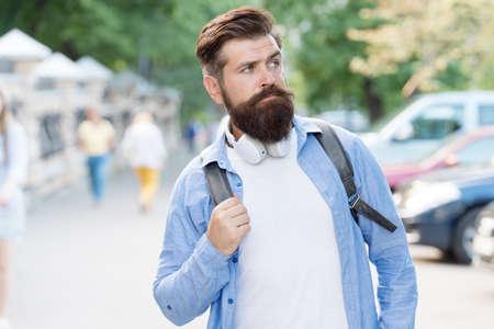 Long beard is style for him. Bearded man travel urban outdoors. Hipster with stylish beard hair. Beard barber. Beard grooming. Skincare. Haircare. Barbershop. Maintaining masculine look