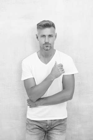 Simple and comfy. From luxurious to affordable. Summer fashion. Mature man casual outfit. Fashion model. Handsome hipster wear white shirt. Summer collection. Menswear concept. Fashion clothes