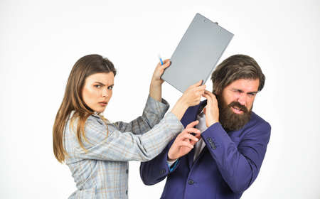 office bulling. couple on business meeting. its big problem. confident ceo people. man and woman with office document folder. Stock fotó
