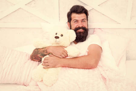 Comfort and relax. Tips sleep better. Bearded man relaxing.