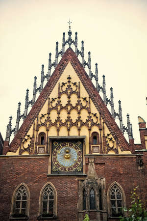 Town hall clock house in wroclaw, poland