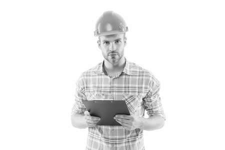 Doing his best. Professional construction manager. Building designer isolated on white. Architectural engineer wear professional hard hat. Skilful and professional. Rely on genuine professional