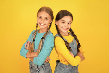 Ukrainian kids. Children ukrainian young generation. Celebrate national holiday. Patriotism concept. Girls with blue and yellow clothes. Patriotic upbringing. Independence day. We are ukrainians