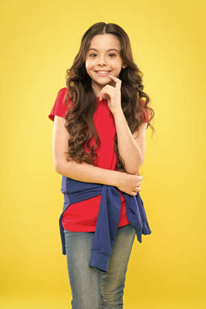 Change you can see. Styling curly hair. Hairdresser tip. Kid girl long healthy shiny hair. Perfect curls. Kid cute face with adorable curly hairstyle. Little girl grow long hair. Teen fashion model