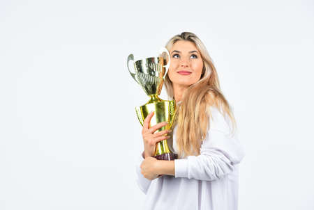 Competition winner. Happy woman showing her trophy. Sport success. Champion cup symbol of success. Successful sport career. Success concept. Just love to be best one. Congratulations concept