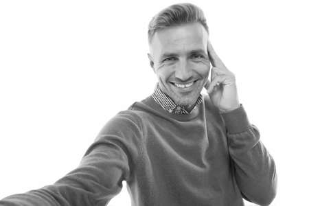 Believe in selfie. Happy man take selfie. Snap shot. Selfie master isolated on white. Video call. Social network. Blog and blogging. Selfie, smile to the camera. Click