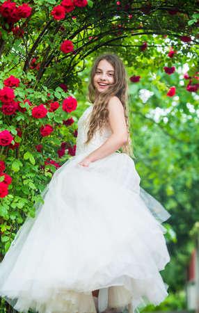 Wonderful wedding dress. look as princess. bridesmaid. childhood happiness.
