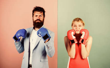 ready to fight. problems in relationship. sport. family couple boxing gloves. bearded man hipster fighting with woman. Strength and power. knockout punching. who is right. win the fight