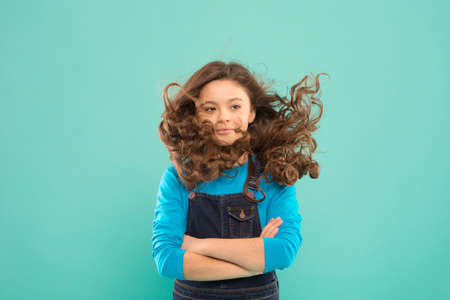 Fresh it up. Nice and tidy hairstyle. Small child long hair. Girl active kid with long gorgeous hair. Extra fresh dry shampoo. Easy tips making hairstyle for kids. Strong and healthy hair concept