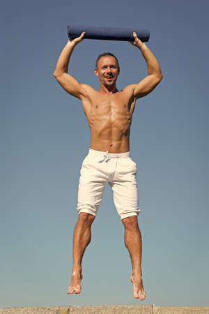 I feel like I need the balance. Man do sport and health activities. Muscular man enjoy good health. Developing muscular strength and power. Success in sport. Success is hard work