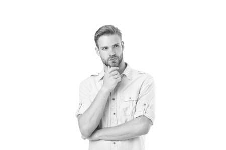 Think to solve. Man with bristle serious face thinking white background. Guy thoughtful touches his chin. Thoughtful mood concept. Man with beard thinking. Think about solution. Close to solution