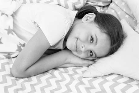 Sweet dreams. Girl happy child lay bed pillow and blanket bedroom. Lullaby concept. Ways to fall asleep faster. Fall asleep as fast as possible. Fall asleep faster and sleep better. Healthy sleep