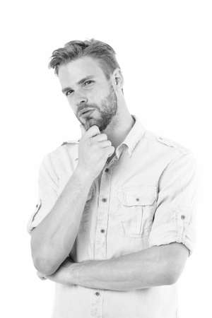 Think to solve. Close to solution. Man with bristle serious face thinking white background. Guy thoughtful touches his chin. Thoughtful mood concept. Man with beard thinking. Think about solution