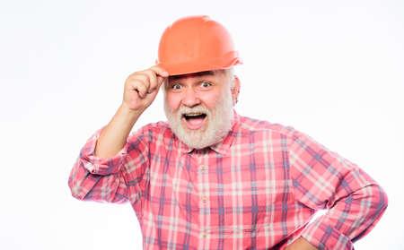 Repair concept. Engineer architect or contractor. Senior engineer foreman. Plumber service. Experienced engineer. Repairing or renovating. Home improvement. Man bearded engineer wear helmet