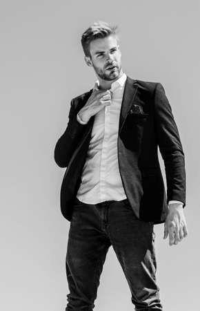 project manager ready to work. formal male fashion. modern lifestyle. confident businessman. Handsome man fashion model. sexy macho man. male grooming. success concept. Bearded guy business style Banco de Imagens