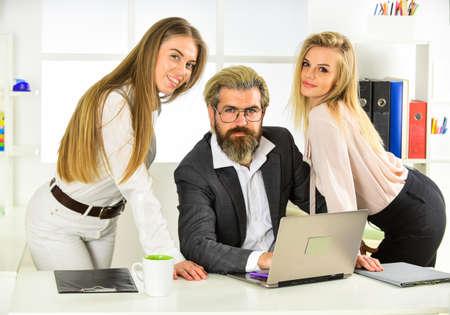 Man and women business colleagues. Office flirt. 写真素材
