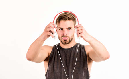 Music as daily therapy. Audio training for motivation. Listen music. Professional software and devices. Entertainment concept. Man handsome guy hold headphones. Music taste. Check out music album