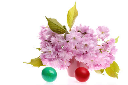 Easter still life with sakura near green and red eggs