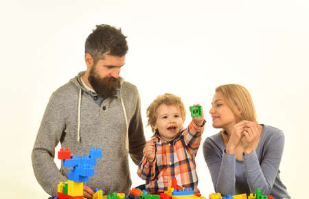Man with beard, woman and boy play on white background