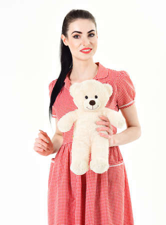 Happy woman received a teddy bear. , World Womens Day or Valentines Day, 8 March. Banco de Imagens