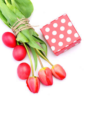 Bouquet of spring tulips for holiday. Bunch of flowers