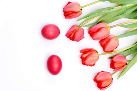 Bouquet of spring tulips for holiday. Easter symbols concept