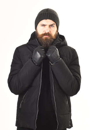Guy with beard warming up. Man with stylish appearance