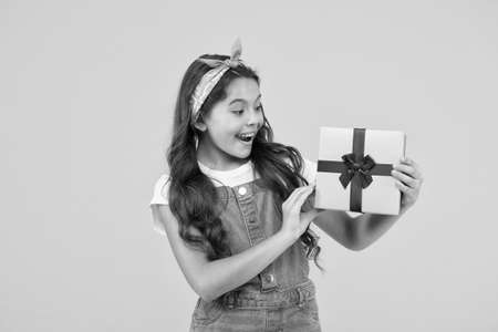 flash sale purchasing. summer retro child. happy girl received present box. surprise for her. happy birthday gift. childhood happiness. concept of boxing day. shopping for kids. reward and prize