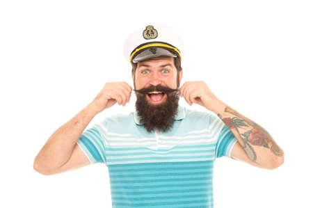 Man cheerful captain sailor hat trip around world, wanderlust concept
