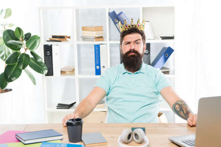 Office is my kingdom. King of office. Man bearded businessman wear golden crown. Top manager head office. Boss enjoying glory. Head office and ceo concept. Chief executive officer. Worker of month
