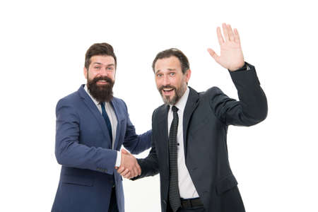 business meeting. team success. collaboration and teamwork. bearded businessmen in formal suit. partnership of boss men isolated on white. mature men have own business. successful business meeting