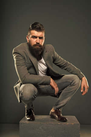 He has style. Stylish smart casual outfit. Menswear and fashion concept. Man bearded well groomed hipster stylish fashionable outfit. Comfortable and cool. Masculine casual outfit. Hipster outfit