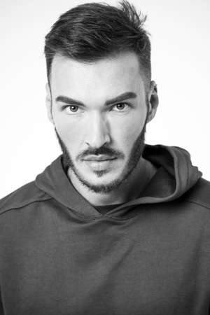 Man bearded face care about attractive appearance close up black and white. Hair and beard grooming. Grooming supplies and professional products. Barbers ultimate tips. Grooming stylish beard tips Archivio Fotografico