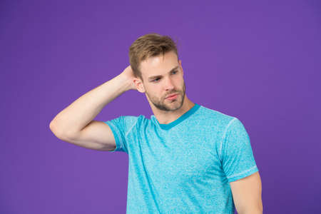 Simple hacks to make hairstyle better. Use right product styling hair. Confident with tidy hairstyle. Barber hairstyle tips. Man bearded guy think which hairstyle he likes today on violet background