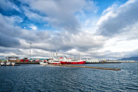 Reykjavik, Iceland - October 13, 2017: ship in sea port. Boat travel. Ship a sea. Ship acoustic navigation system. Boat ahoy. The world is yours, travel more Archivio Fotografico