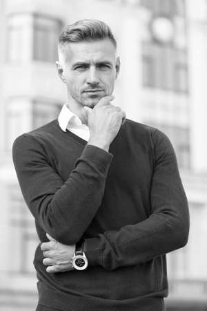 Predict developments. Lost in thoughts. Cognitive process. Intellectual work. Attractive mature man. Mature man grey hair and bristle outdoors. Man stylish hairstyle. Male face. Businessman concept