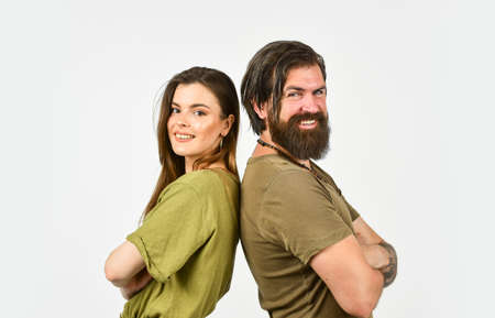 Team couple. Bearded man and woman. Fashion and beauty. Valentines day. Man with girlfriend. Couple in love. Relationship and dating. Modern couple. How male cosmetics are different from female Stock fotó