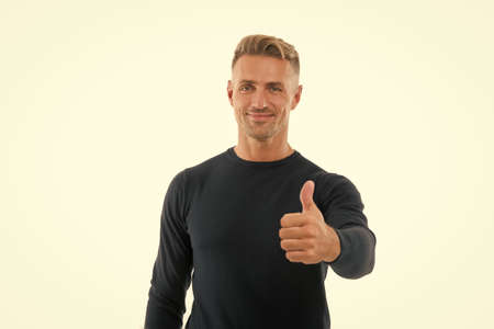 Recommended. Happy promoter give thumbs up hand. Promoting and approving. Promoting product. Promoting and advertising. Promotion. Public relations. Advertising campaign. Marketing and promoting