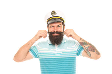 Man cheerful captain sailor hat trip around world, cruise tour concept