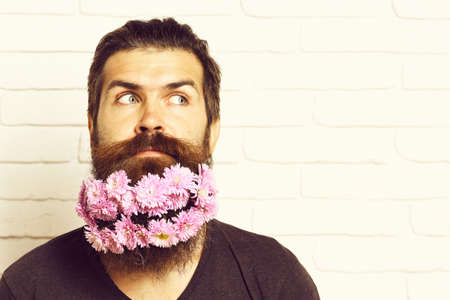hipster with flowers in beard on white brick wall background, copy space