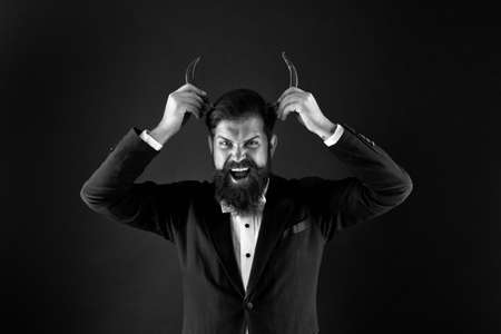 hot time. Hot Chilli Pepper. hot as in hell. extra strong. Pepper harvest industry. peppery man with devil horns. happy bearded businessman has pepper moustache. male spicy taste. for the thrill Banque d'images
