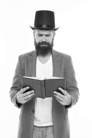 Bearded man read book. Brutal bookworm isolated on white. Unshaven bibliophile. Reading book.