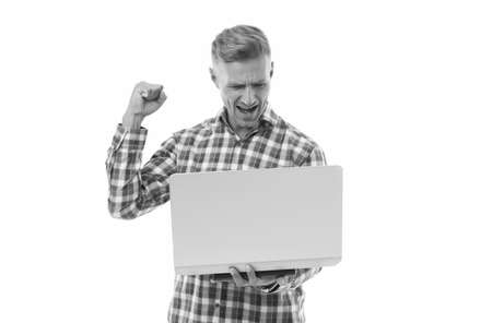 Online betting site. Happy man bet online isolated on white. Online casino and gambling. Computer online gaming. Playing computer video games. New technology. Modern life. Plug and play
