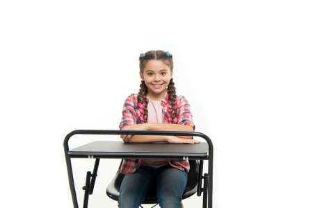 Perfect student girl sit desk. She knows all right answers. Knowledge is richness. Back to school. Private school concept. Individual schooling. Elementary school education. Enjoy process of studying