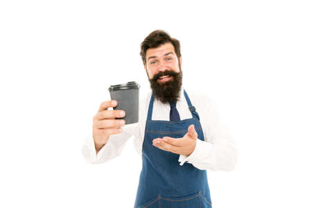 Barista prepared coffee for you. Enjoying fresh coffee. Mature barista in apron isolated on white. Robusta arabica blend. Inspired with cup of fresh coffee. Bearded man hold paper coffee cup