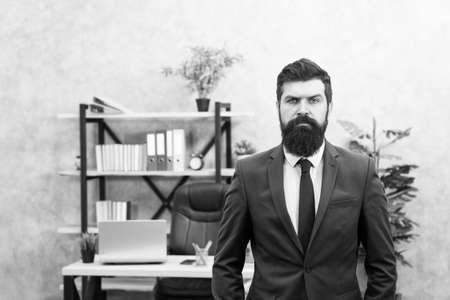 Provide consultation to management on strategic staffing plans. Office staff. HR director. HR management. HR job description. Head of human resources department. Man bearded serious office background Stock fotó