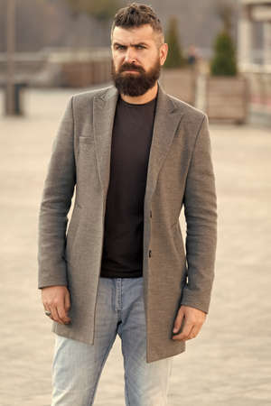 Menswear and male fashion concept. Man bearded hipster stylish fashionable coat. Comfortable and cool. Masculine casual outfit. Hipster outfit. Stylish casual outfit for fall and winter season Stock fotó - 154430394