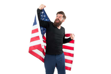 Freedom is nothing but a chance to be free. Happy bearded man holding american flag on independence day. Free expression of patriotism on July 4th. Free citizen. Acting out of his own free will