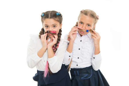 Fancy style. Little girls with braids ready for school. School fashion concept. School friendship. On same wave. Schoolgirls wear formal school uniform. Children beautiful girls long braided hair