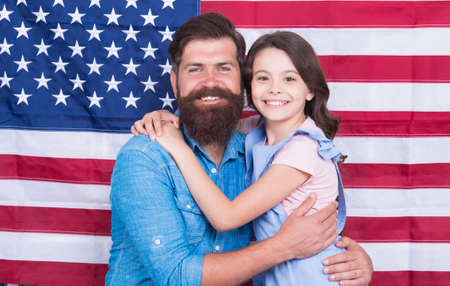 Freedom fundamental right. Independence is happiness. Independence day holiday. How do americans celebrate independence day. Father american bearded hipster and cute little daughter with USA flag